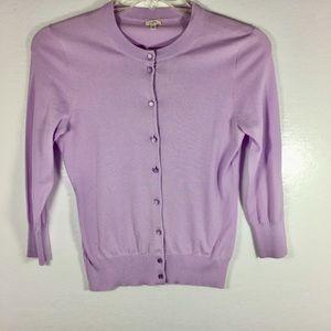 Jcrew purple cotton button front cardigan S